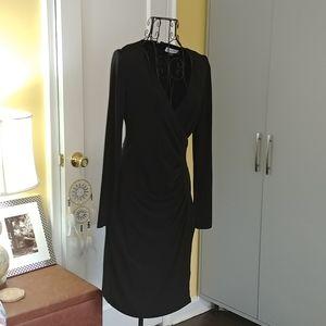 Calvin Klein Black Faux Wrap Stress NWOT Size 4